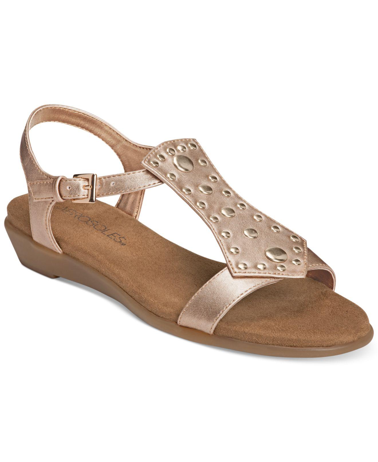 Lyst Aerosoles Athens Gladiator Sandals In Metallic