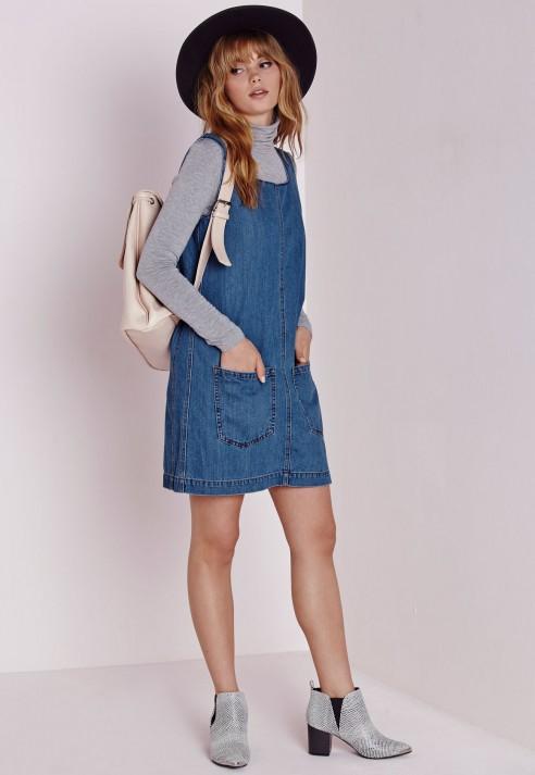 Missguided Denim Pinafore Dress Indigo in Blue