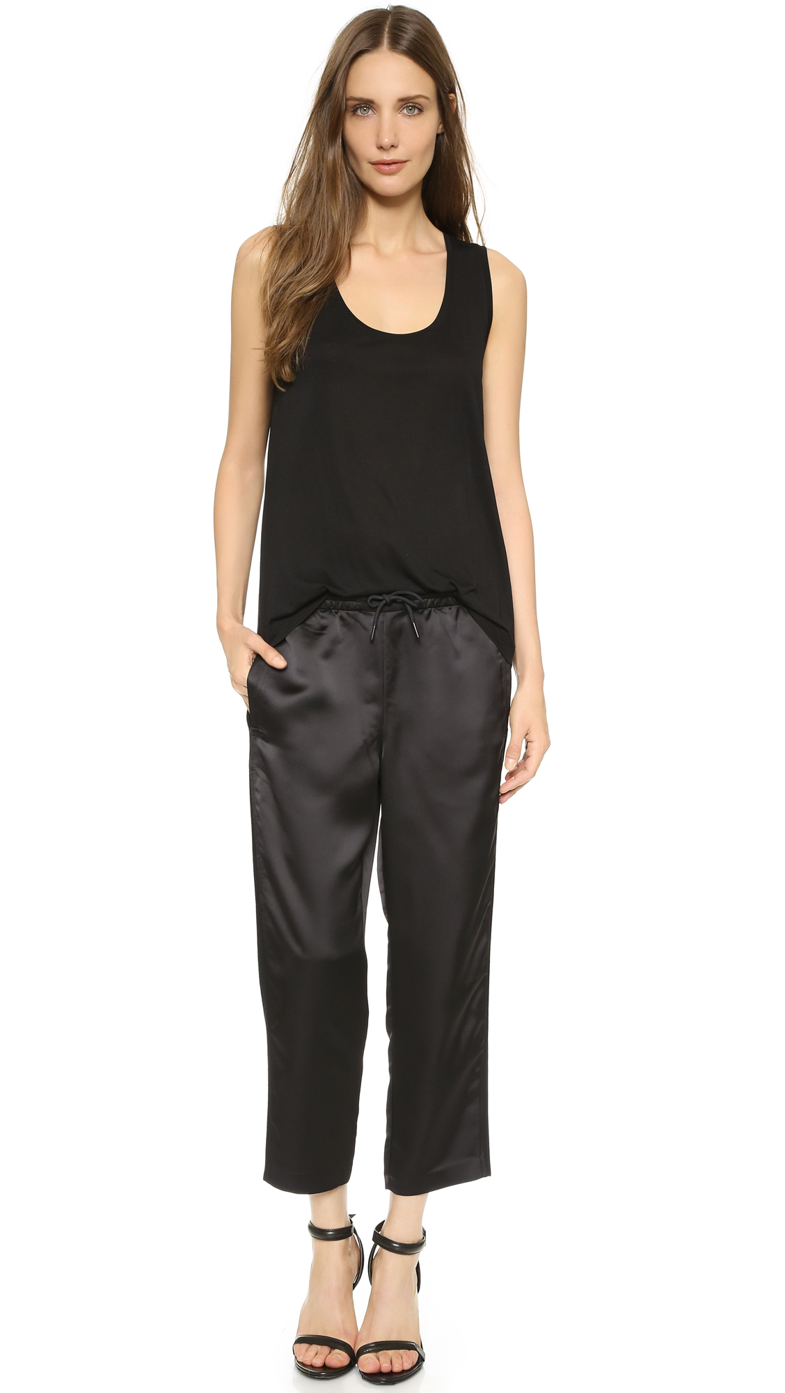lyst t by alexander wang satin track pants black in black. Black Bedroom Furniture Sets. Home Design Ideas