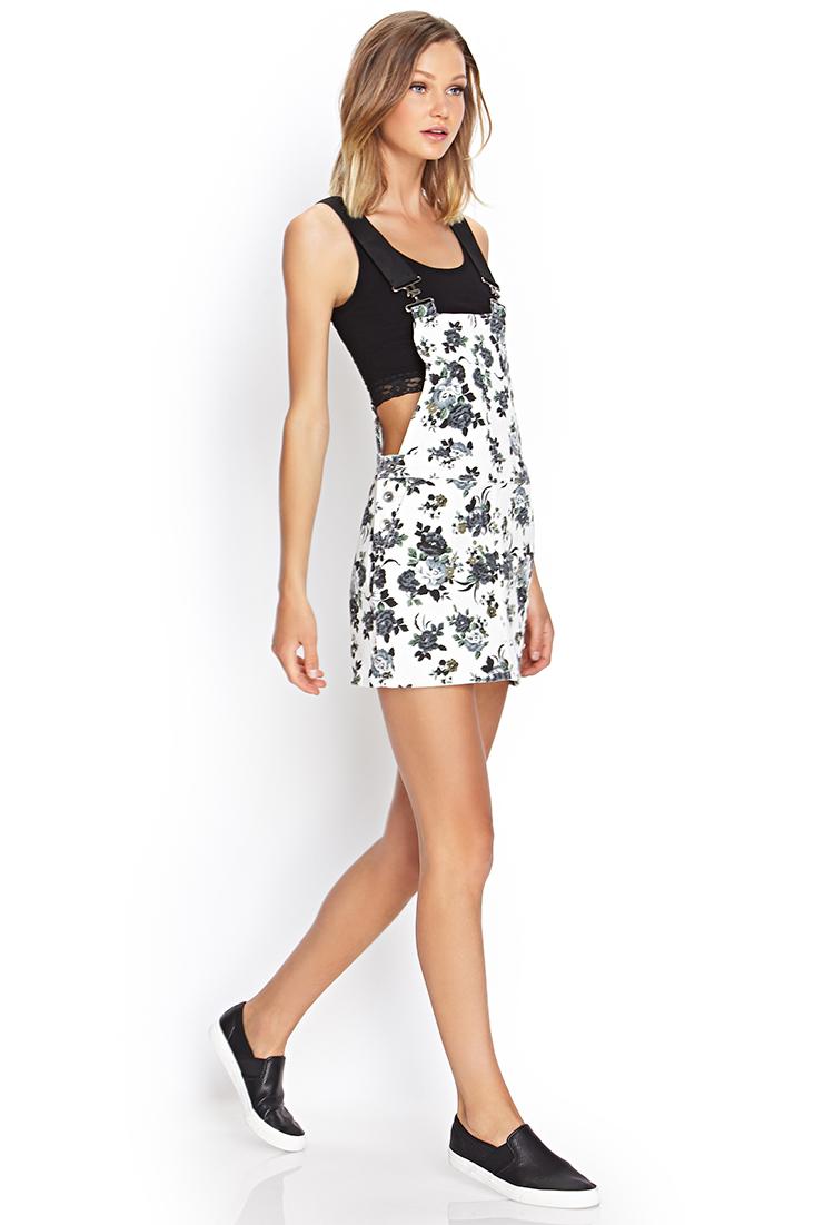 0dd3d5c6de61 Forever 21 Floral Denim Overall Dress - Lyst