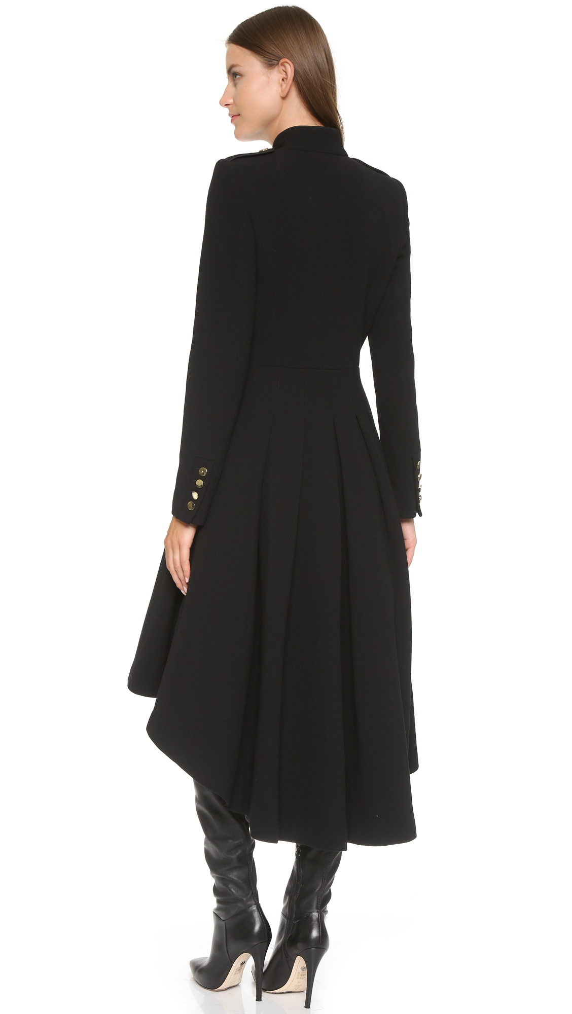 Alice   olivia Rossi Long Military Coat - Black in Black | Lyst