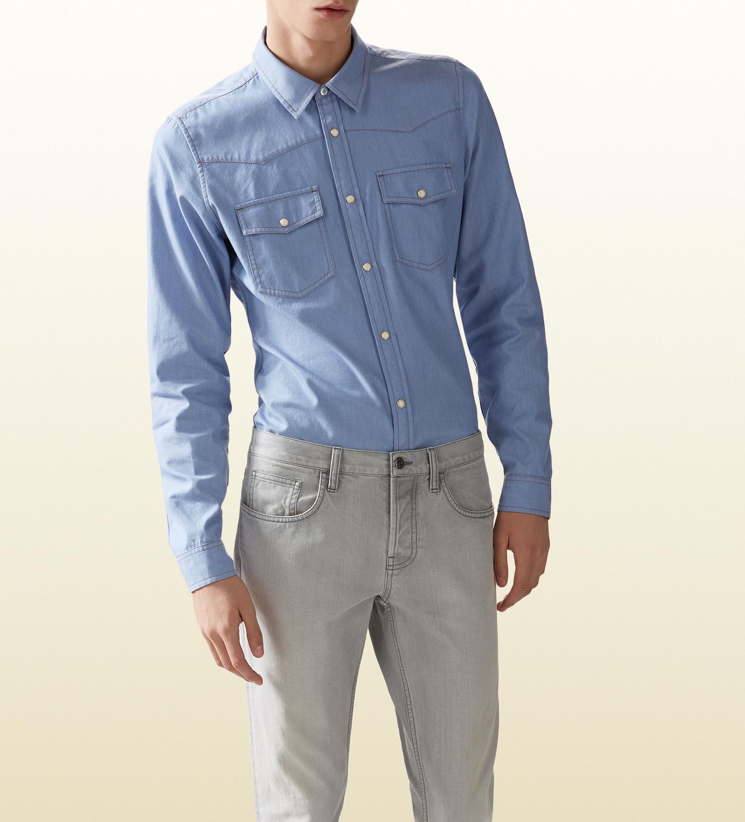 Gucci Light Blue Denim Chambray Shirt In Blue For Men Lyst