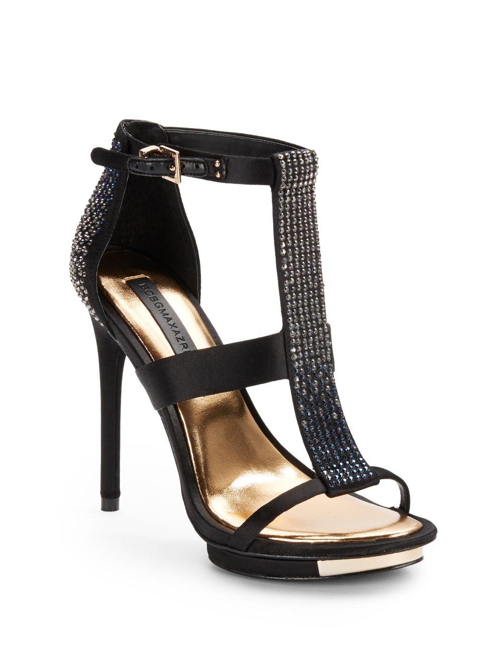 cf3ee97e3 Lyst - BCBGMAXAZRIA Lilie Jeweled High Heel Sandals in Black