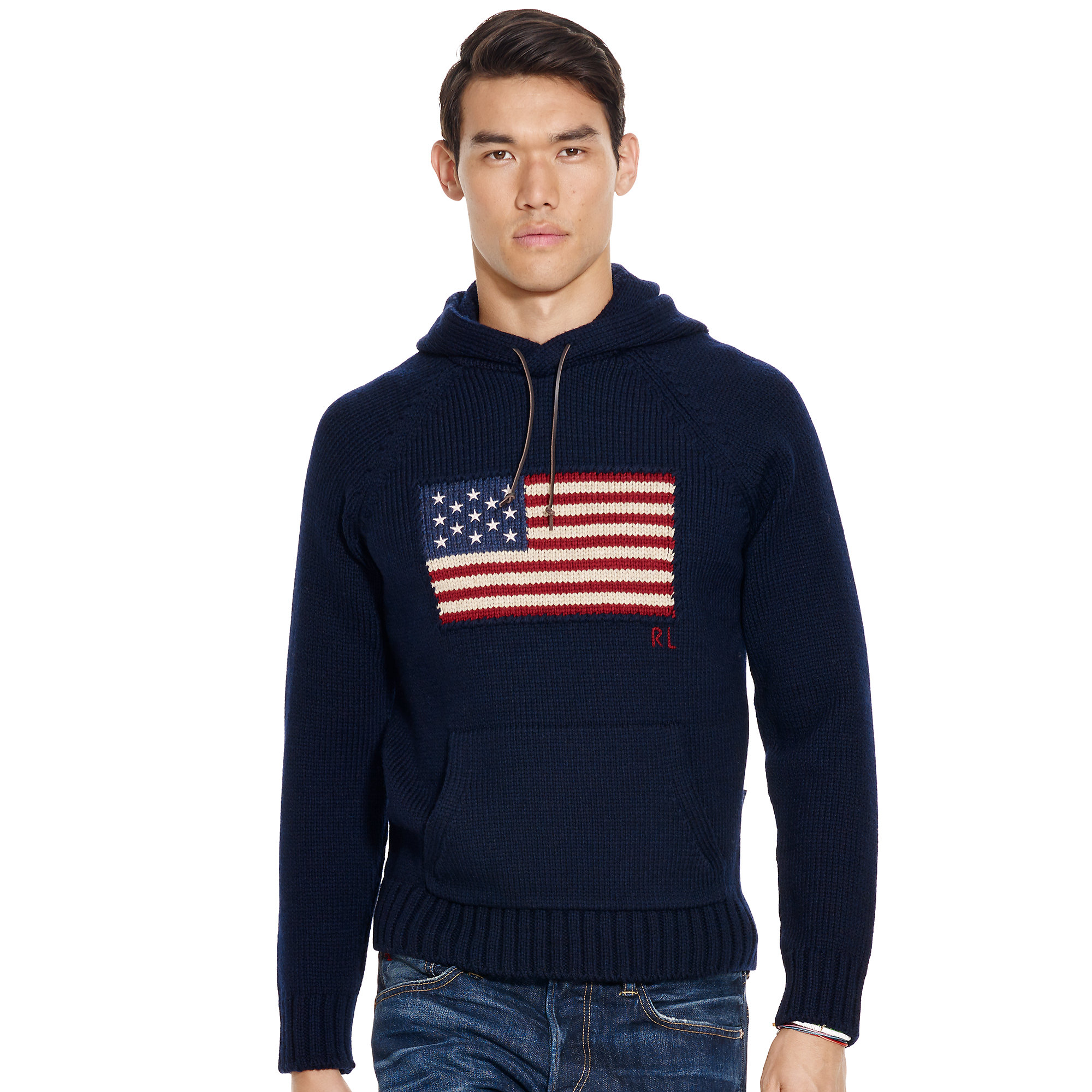 Polo ralph lauren Flag Wool Hooded Sweater in Blue for Men | Lyst