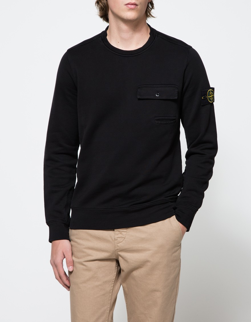 Stone island Fleece Crewneck Sweatshirt in Black for Men | Lyst