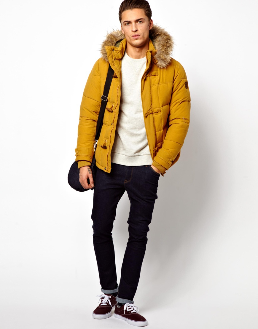 Pull&bear Parka in Yellow for Men | Lyst