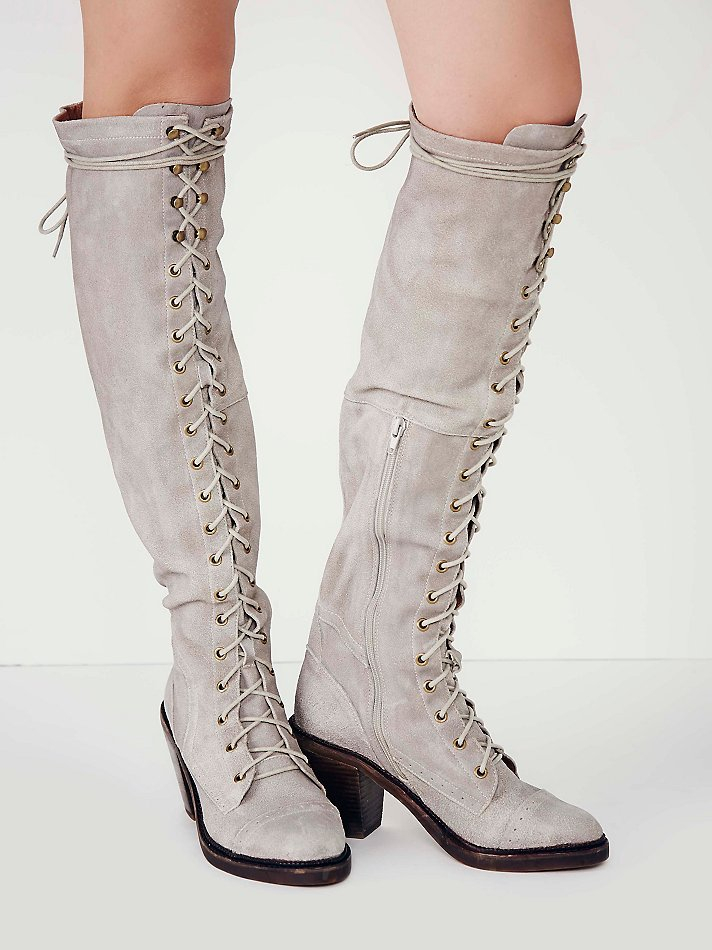 Lyst Free People Jesse Lace Up Otk Boot In Gray