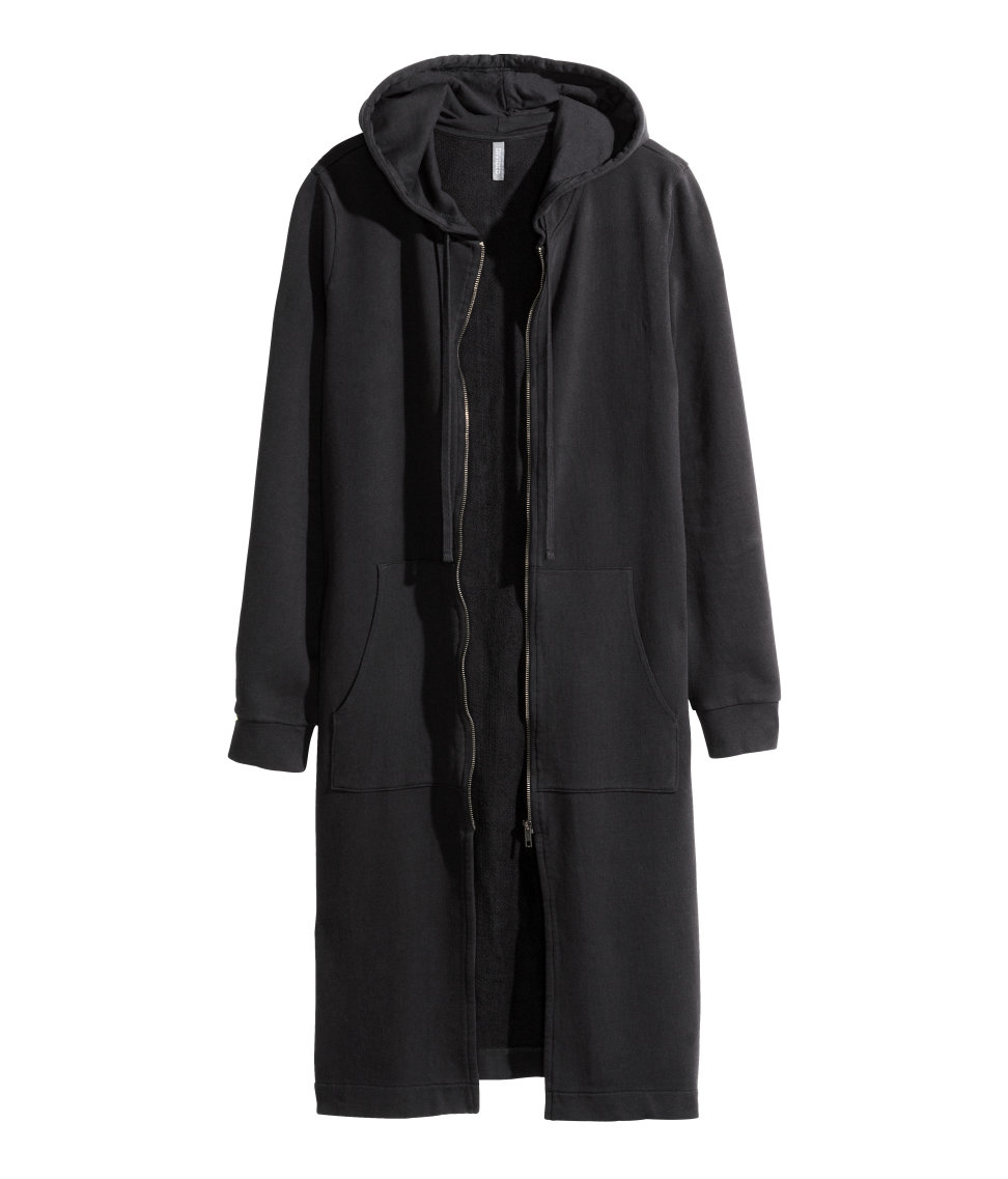 H&m Long Hooded Jacket in Black for Men | Lyst