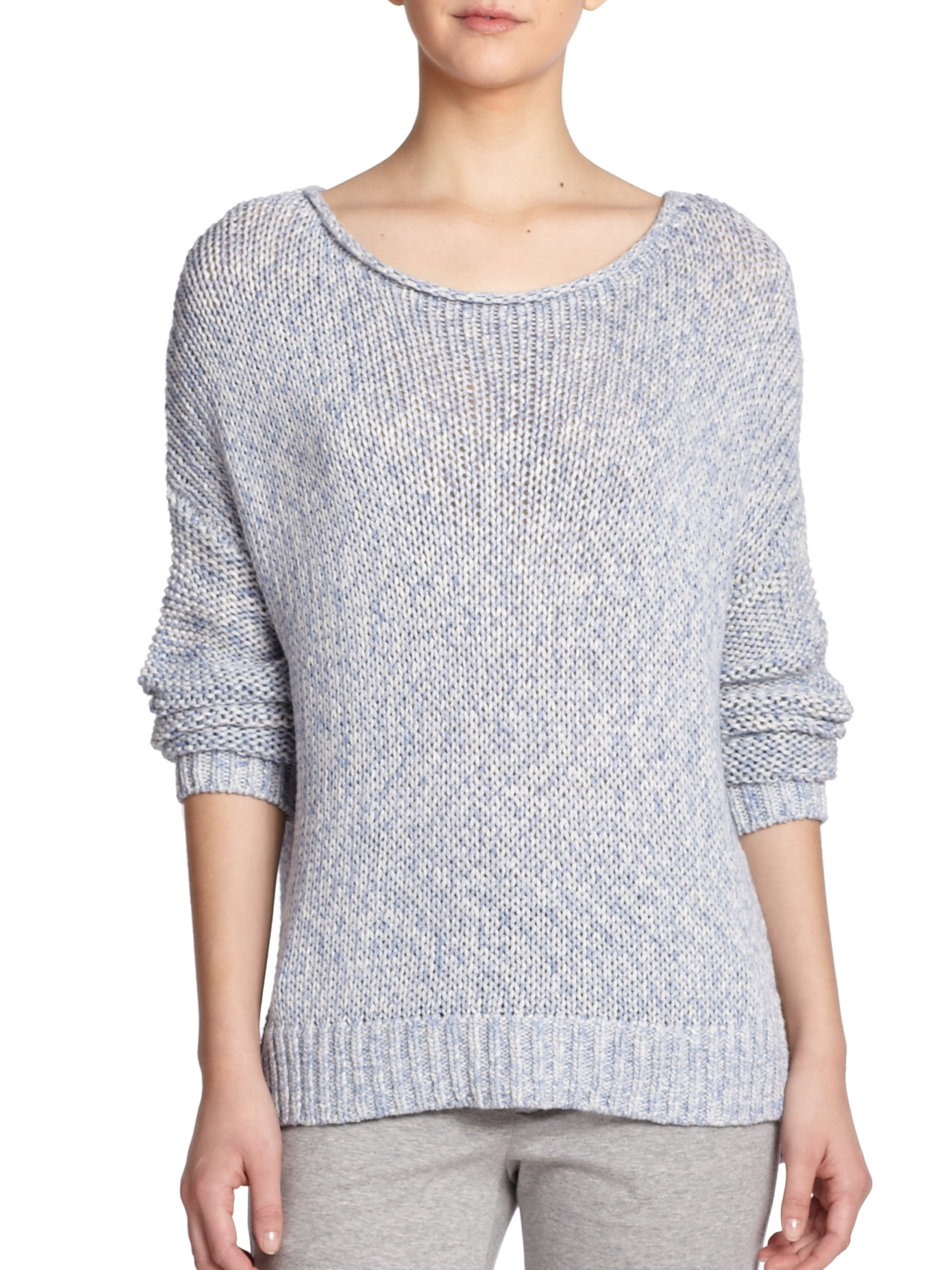 Vince Slouched Cotton Sweater in Pink   Lyst