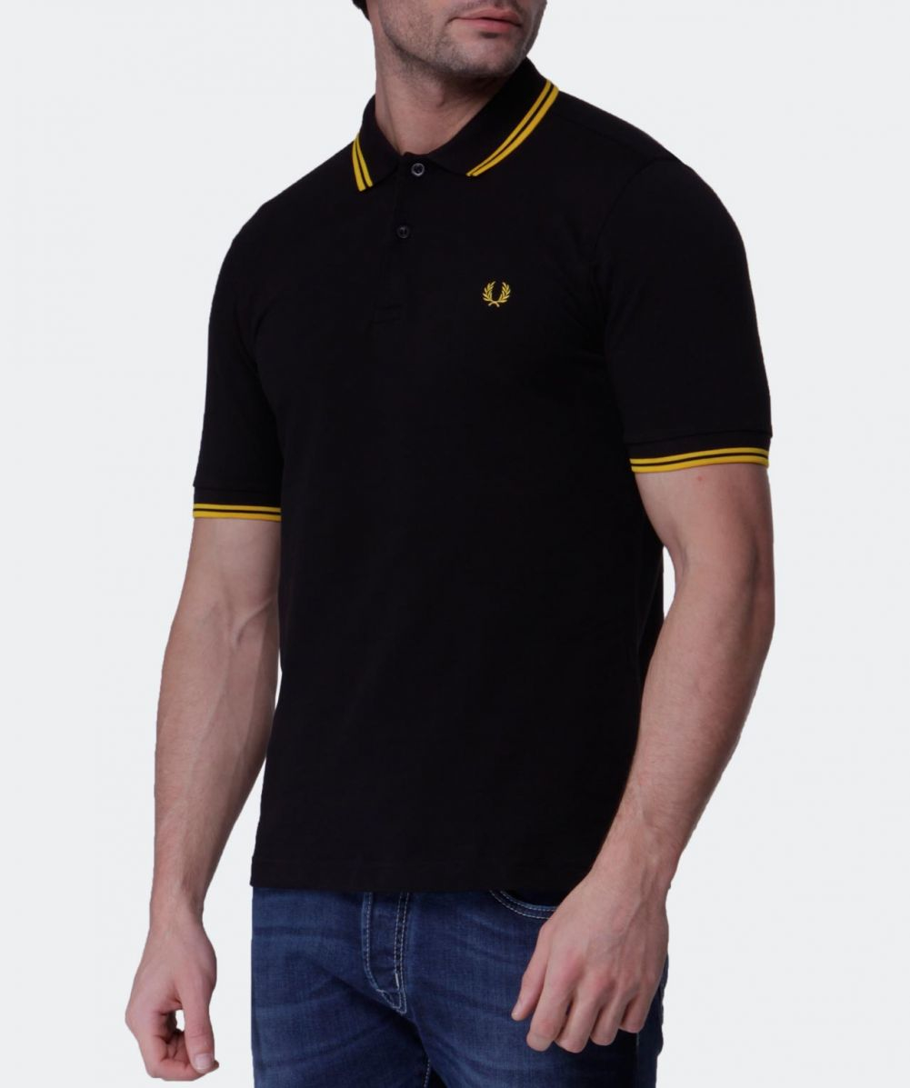 fred perry slim fit twin tipped polo shirt in black for. Black Bedroom Furniture Sets. Home Design Ideas