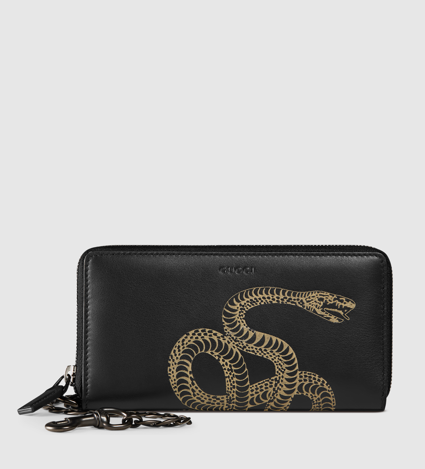 83bf6fb7d9b Lyst - Gucci Snake Leather Chain Wallet for Men
