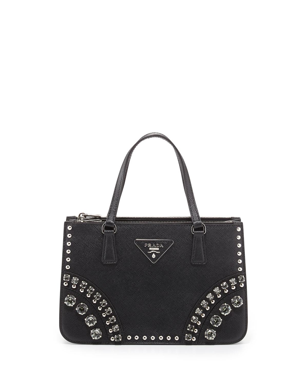 c2070de23e54 Lyst - Prada Saffiano Mini Crystal-Studded Tote Bag in Black