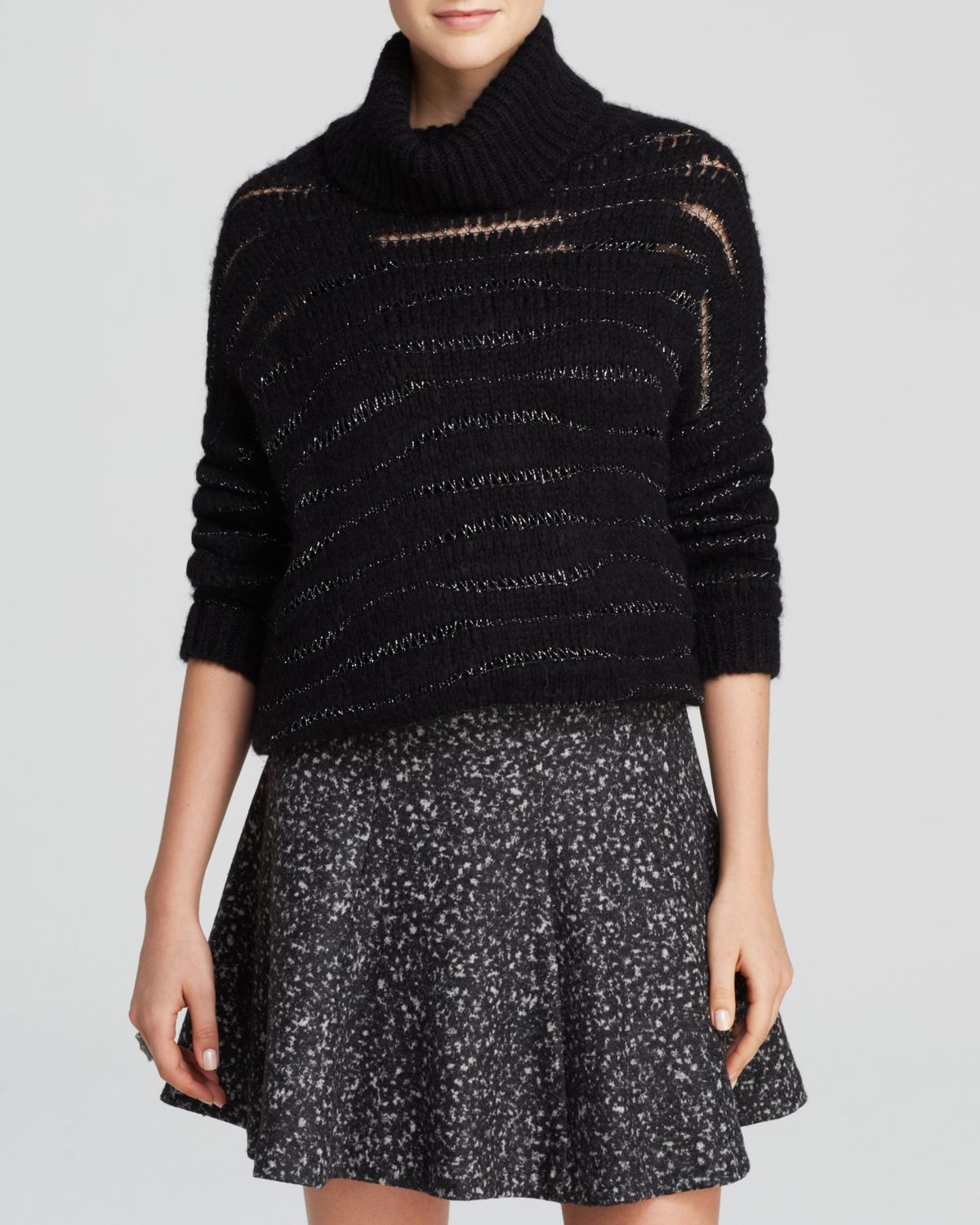 Knitting Essentials White Sparkle Wool : Nanette lepore sweater sparkle yarn turtleneck in black