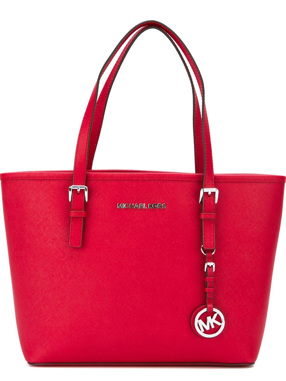 lyst michael michael kors small 39 jet set travel 39 tote in red. Black Bedroom Furniture Sets. Home Design Ideas