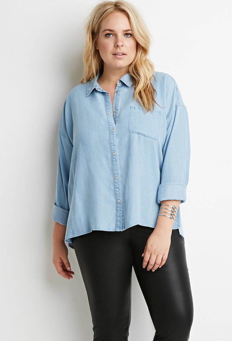 Forever 21 Plus Size Pearlescent Button Chambray Shirt You