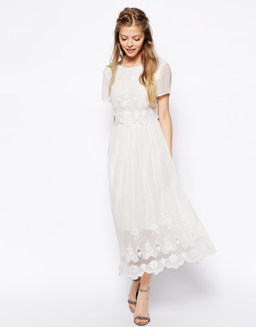 lyst asos vintage midi dress with cutwork and overlay