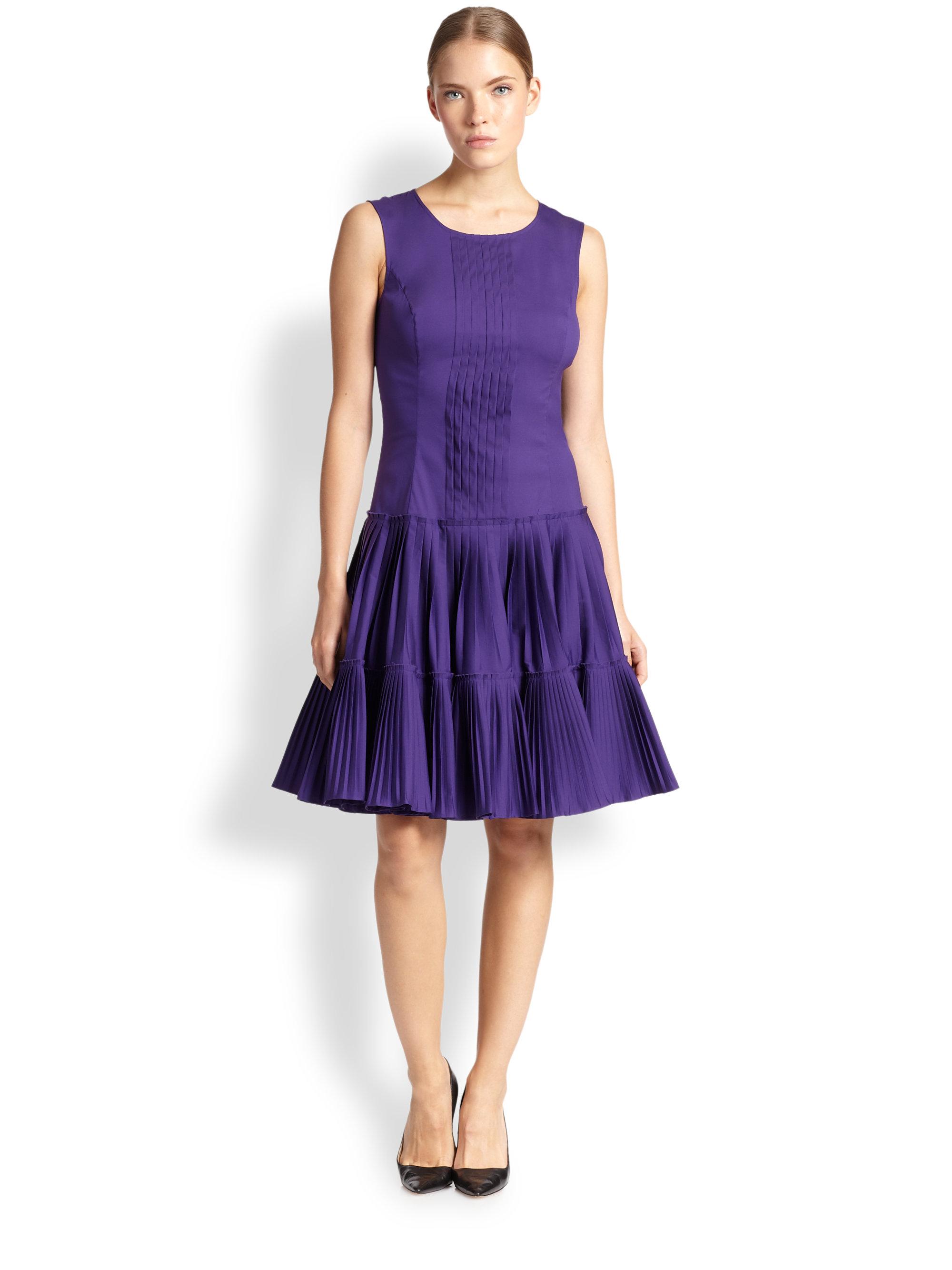 Lyst - Oscar De La Renta Pleated Drop-Waist Dress in Purple