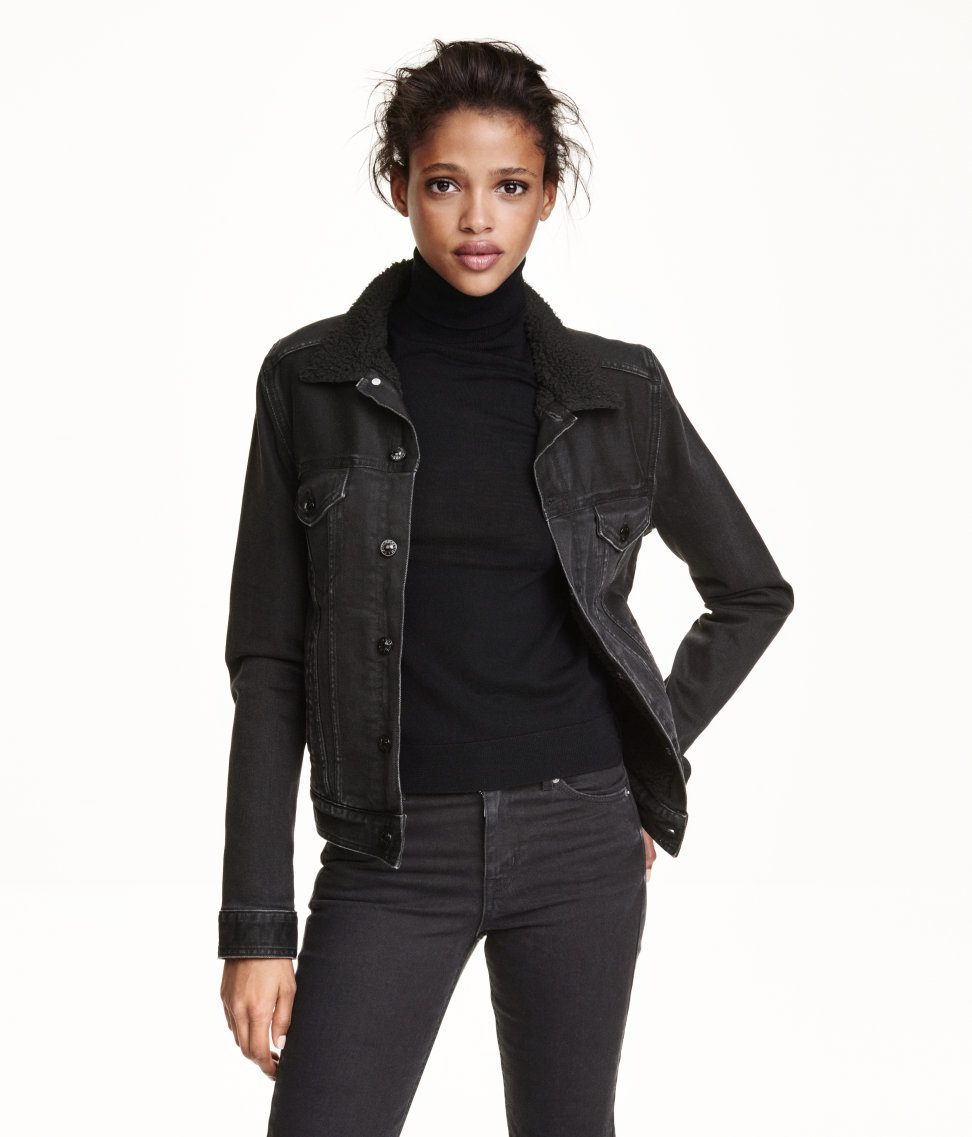H M Pile Lined Denim Jacket In Black Lyst