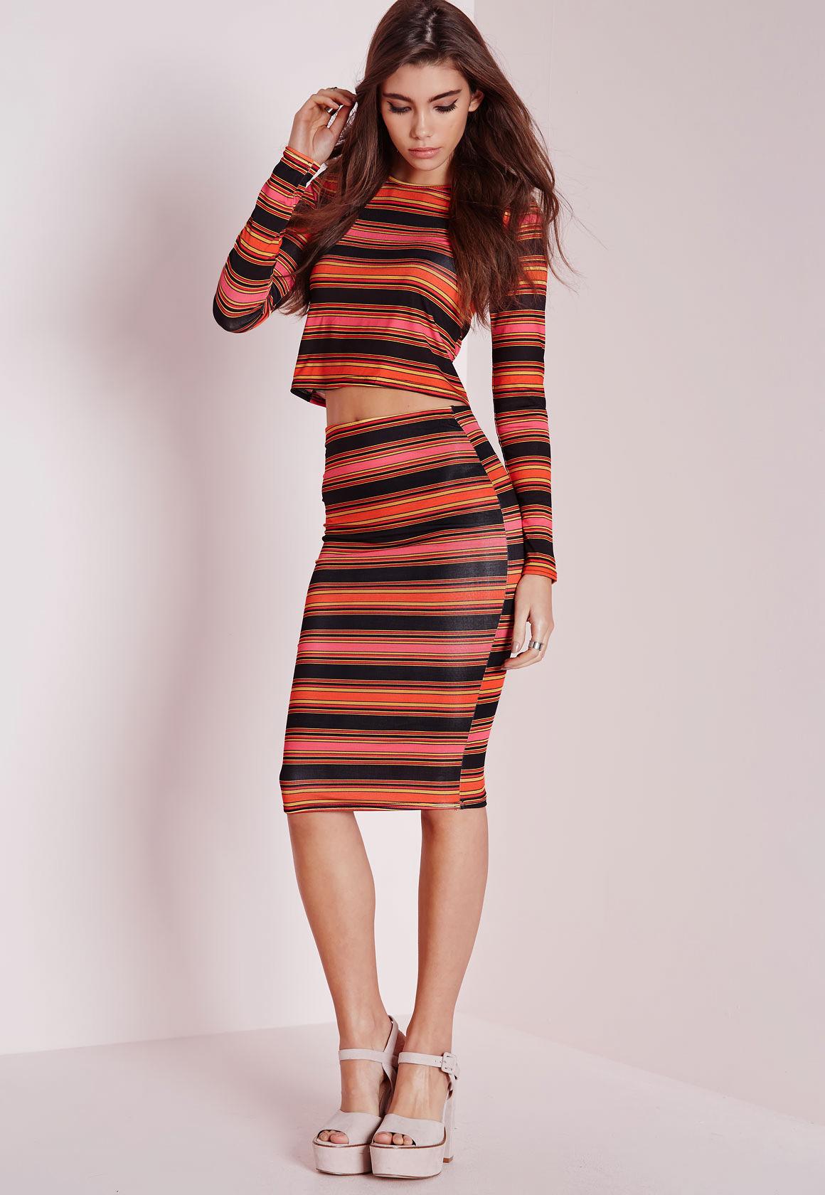 missguided multicolored stripe midi skirt in black lyst