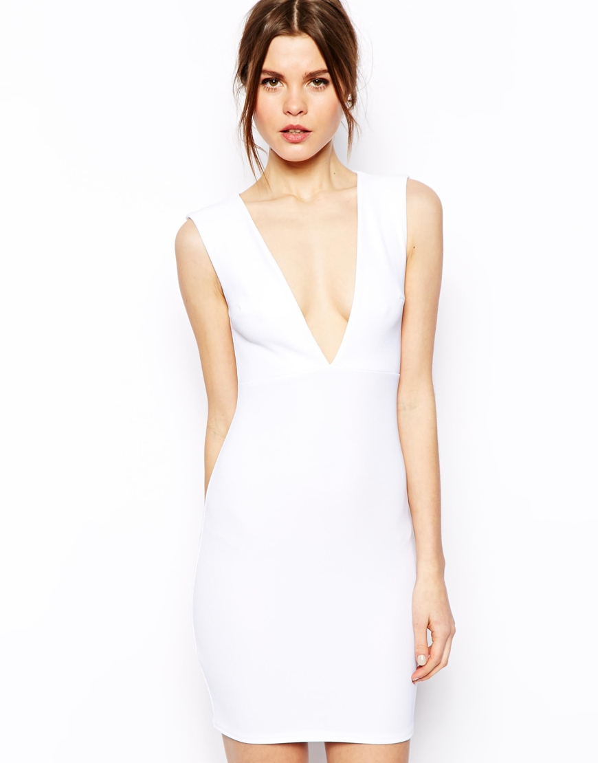 b8666a2c37 Lyst - ASOS Rib Deep Plunge Bodyconscious Dress in White