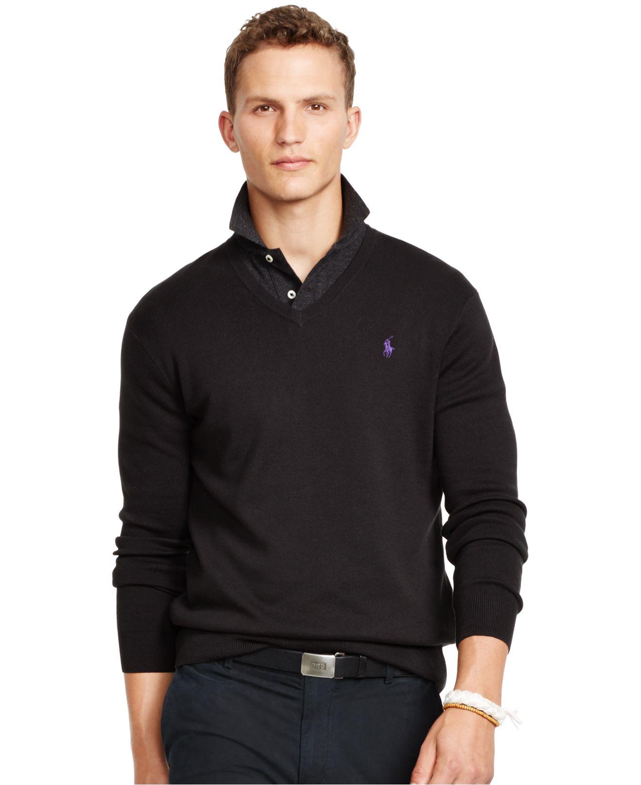 polo ralph lauren pima v neck sweater in black for men polo black lyst. Black Bedroom Furniture Sets. Home Design Ideas