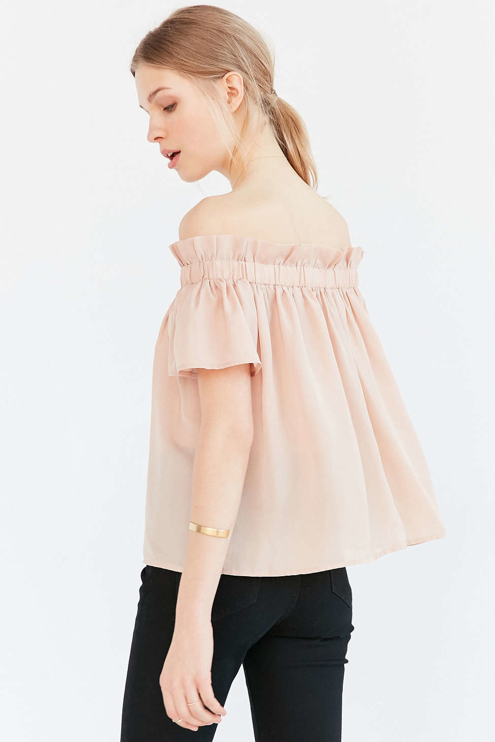 lucca couture ruffle off the shoulder blouse in pink lyst. Black Bedroom Furniture Sets. Home Design Ideas