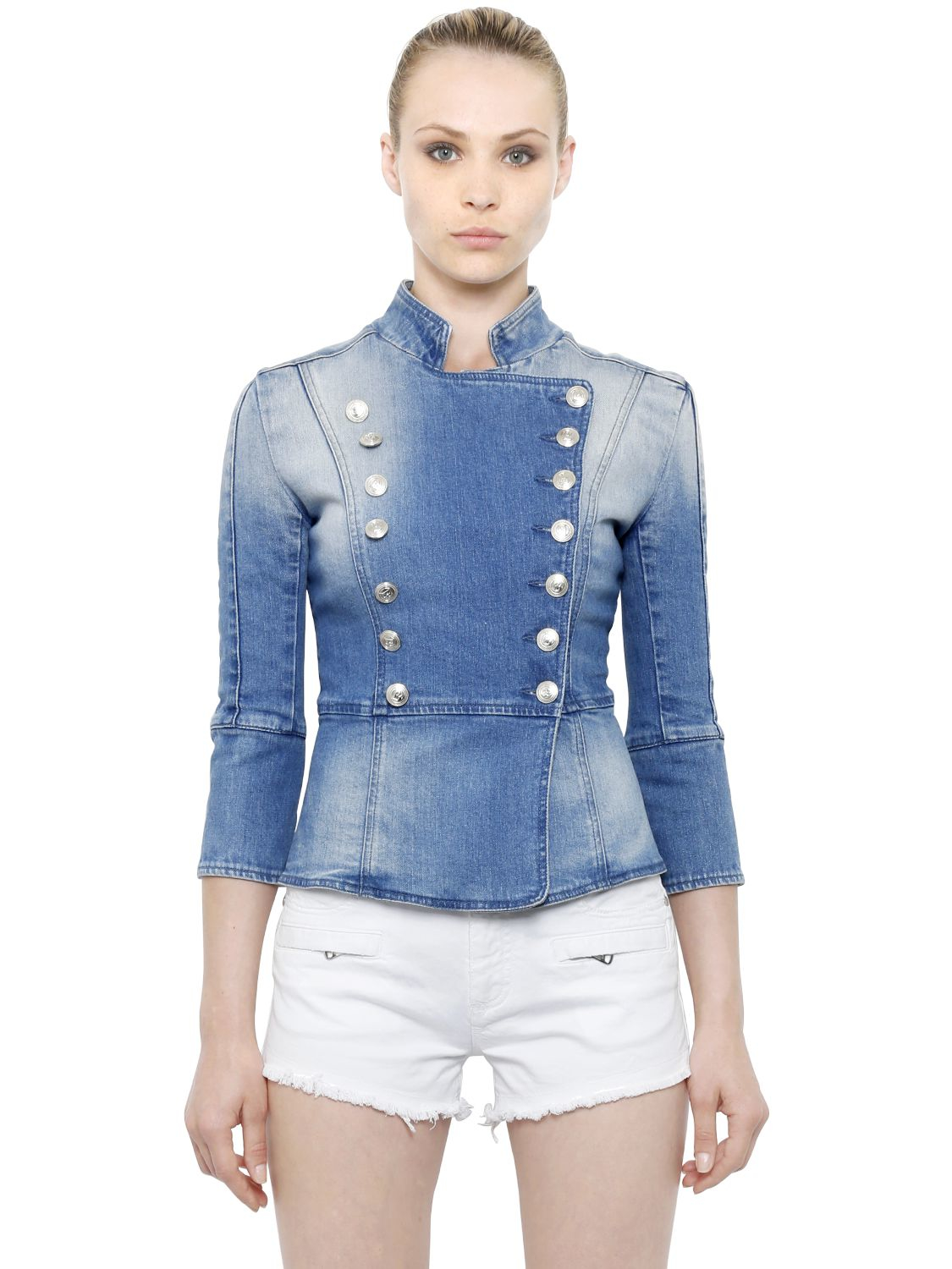 Balmain Double Breasted Cotton Denim Jacket In Blue Lyst