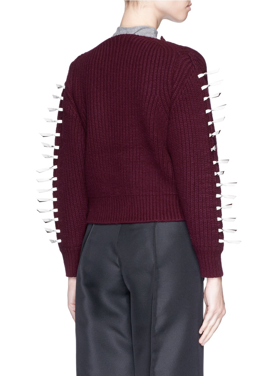 Nylon Knitting Ribbon : Lyst toga faux leather ribbon knit cardigan in purple