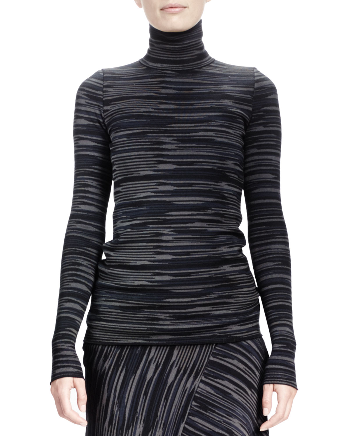 Stella mccartney long sleeve space dyed turtleneck top in for Adam lippes women s long sleeve vee t shirt