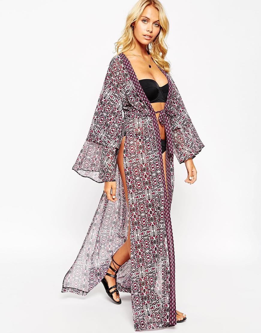 ASOS Mixed Tile Print Layered Sleeve Maxi Beach Kimono in