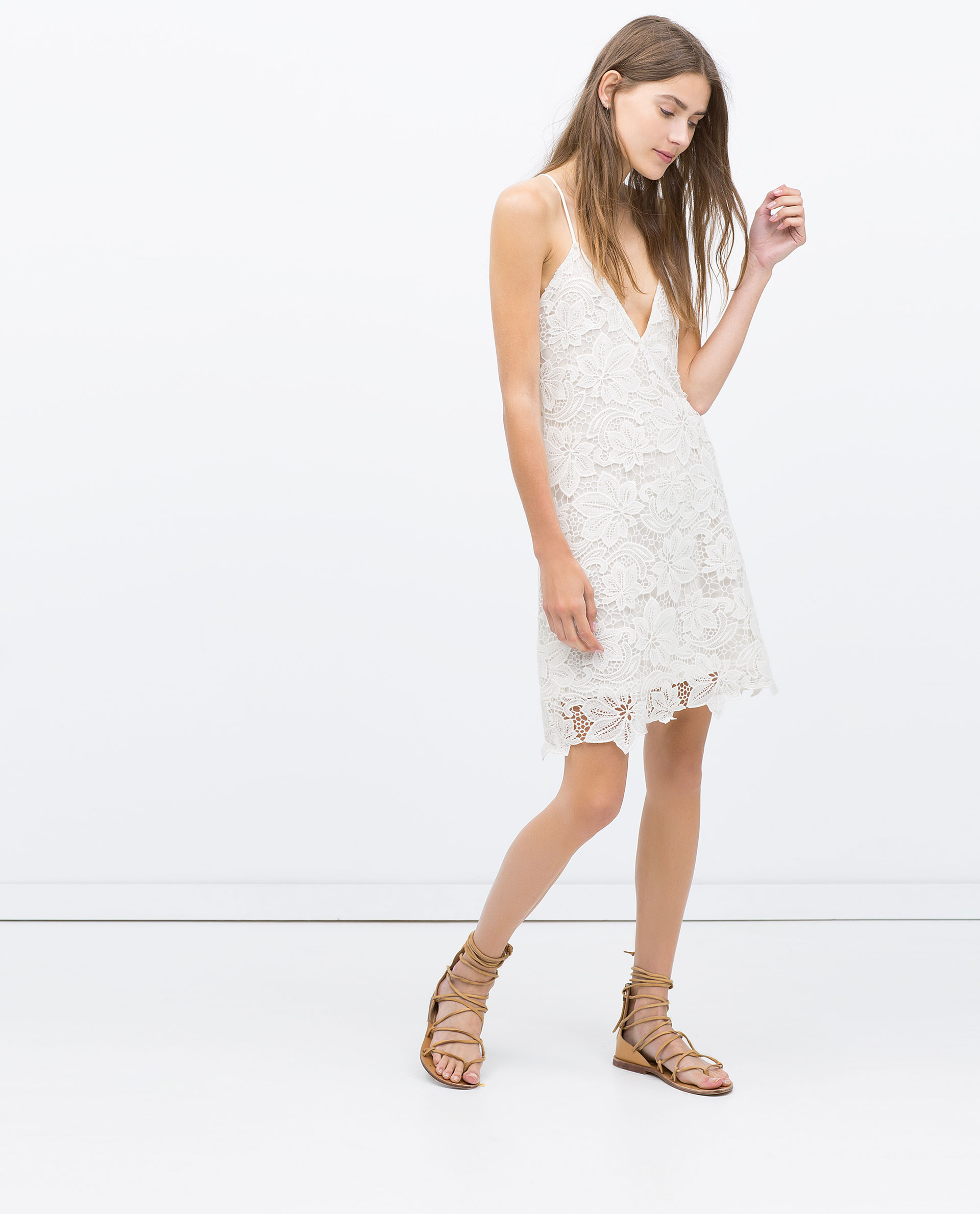 White dress at zara -  Zara White Long Sleeve Dress
