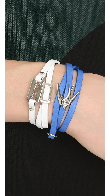 Alexander McQueen Swallow Mini Wrap Bracelet Black/pink mKjuNBCm3D