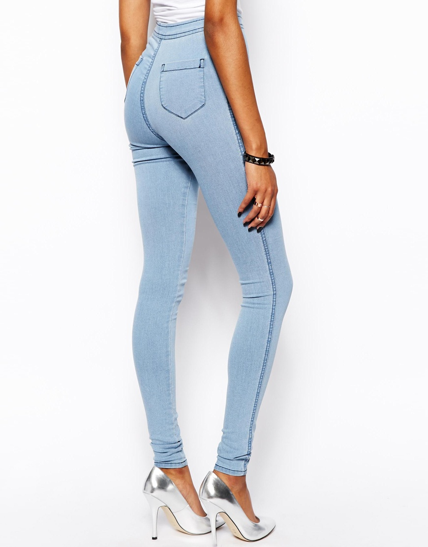 Asos Womens Rivington High Waist Denim Jeggings In Washed With Knee Ripsr Washed Black - Jeans