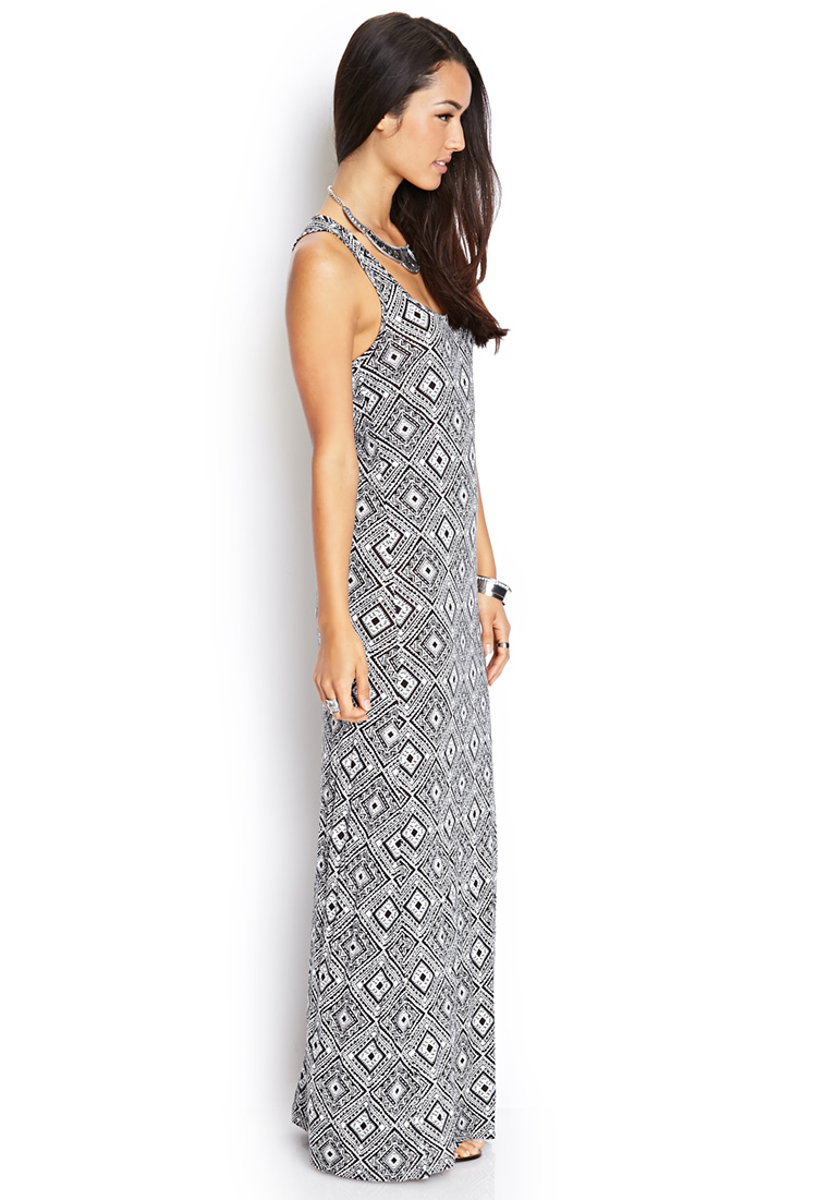 Forever 21 Tribal Print Maxi Dress in Black  Lyst