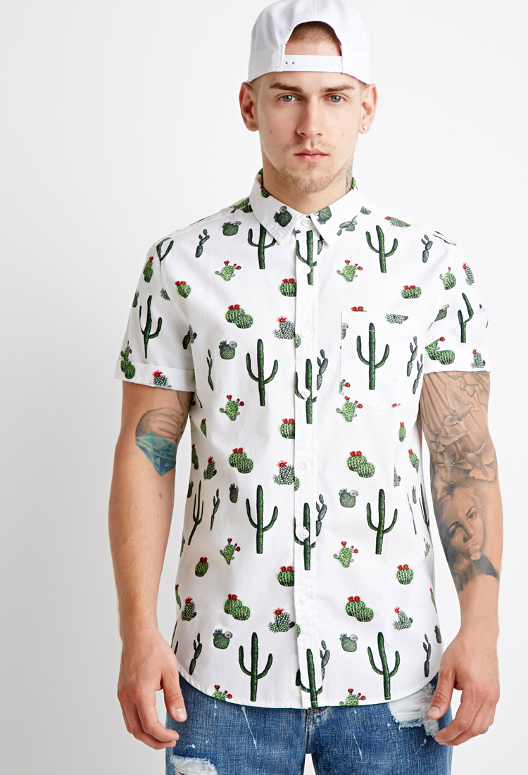 Lyst forever 21 cactus print shirt you 39 ve been added to for Printed shirts for men