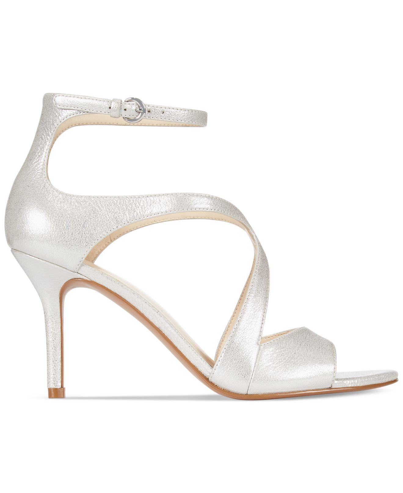 6664b69848 Nine West Gerbera Mid-Heel Dress Sandals in Metallic - Lyst