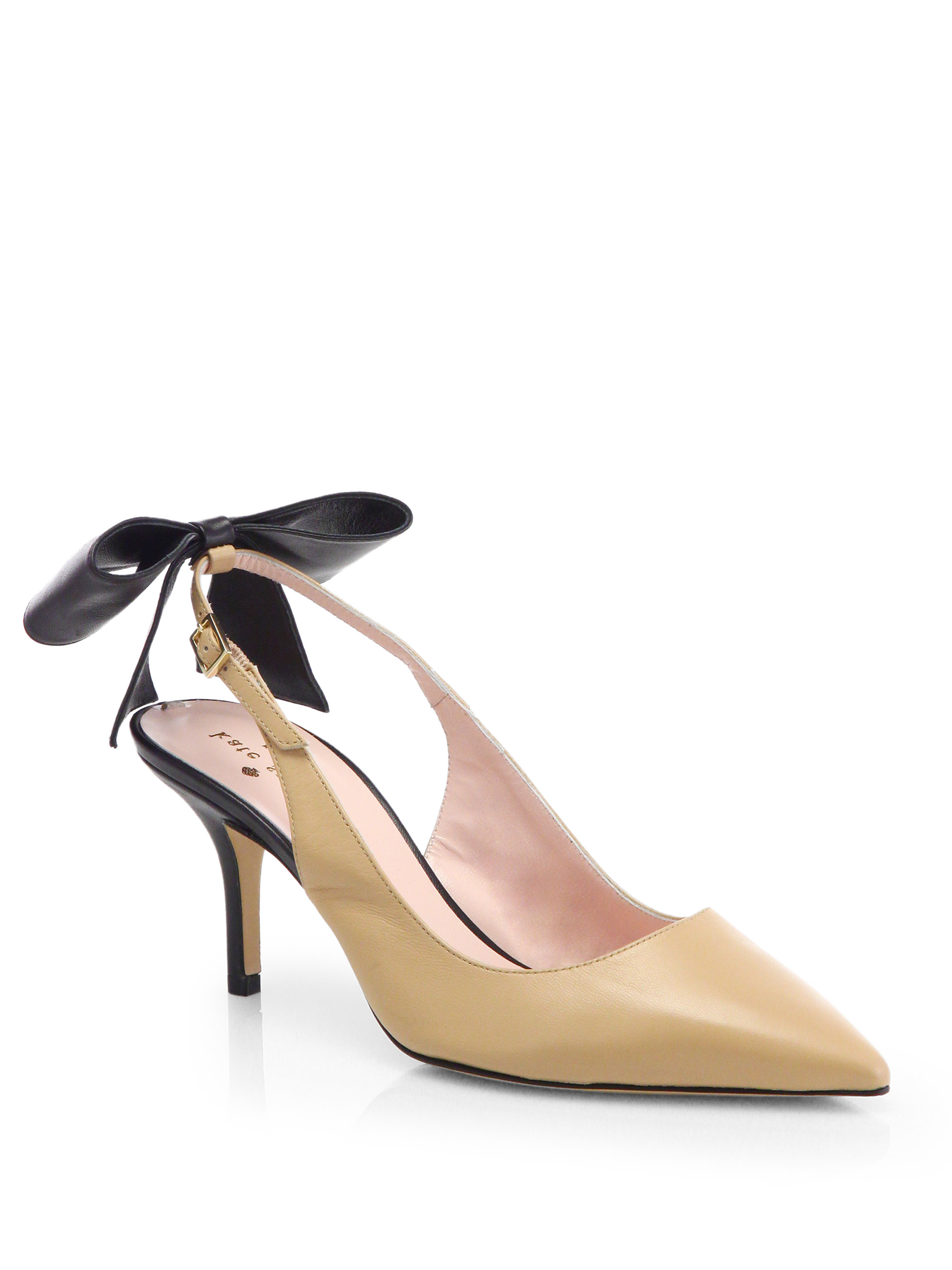 bbd498628c7 Lyst - Kate Spade Jax Leather Bow Slingback Pumps in Natural