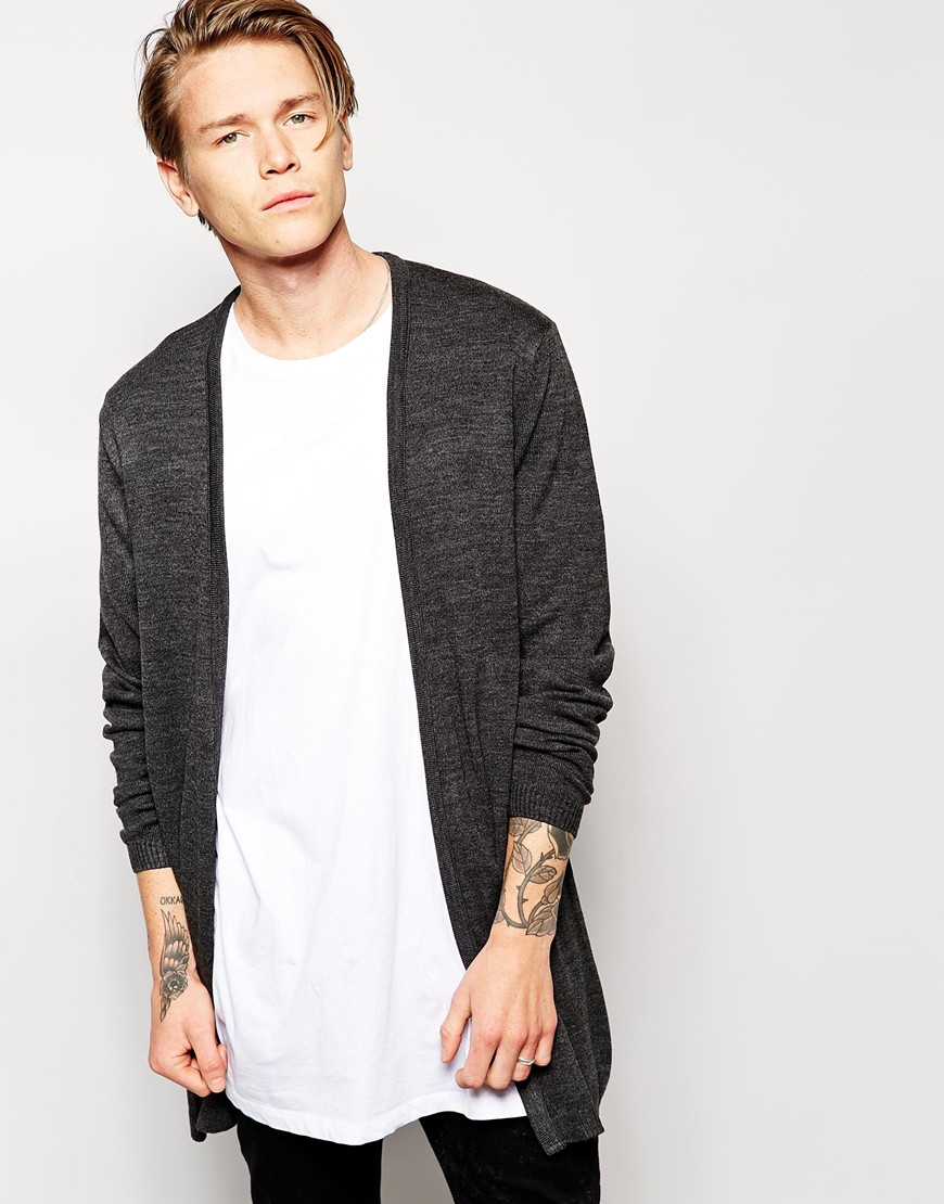 Asos Super Longline Cardigan in Gray for Men | Lyst