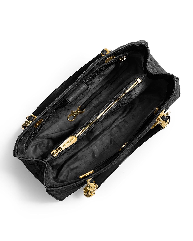 Lyst michael kors susannah medium quilted chevron tote bag jpg 1200x1500 Black  chevron tote 330c13c4b9