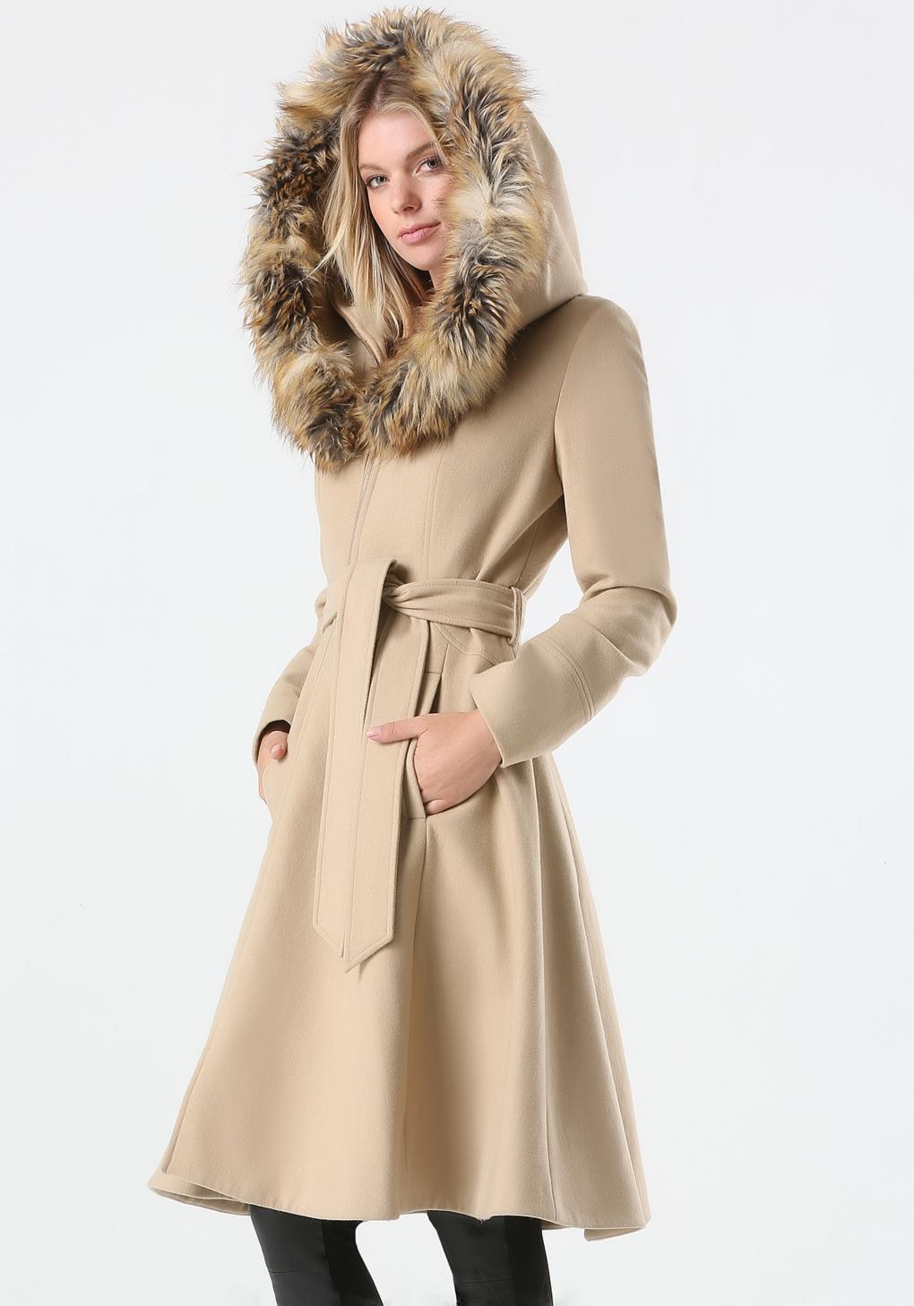 Bebe Tan Wool Hooded Coat in Brown | Lyst