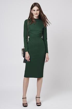 742d00fd069c Lyst - TOPSHOP Long Sleeve Cut-out Midi Dress in Green