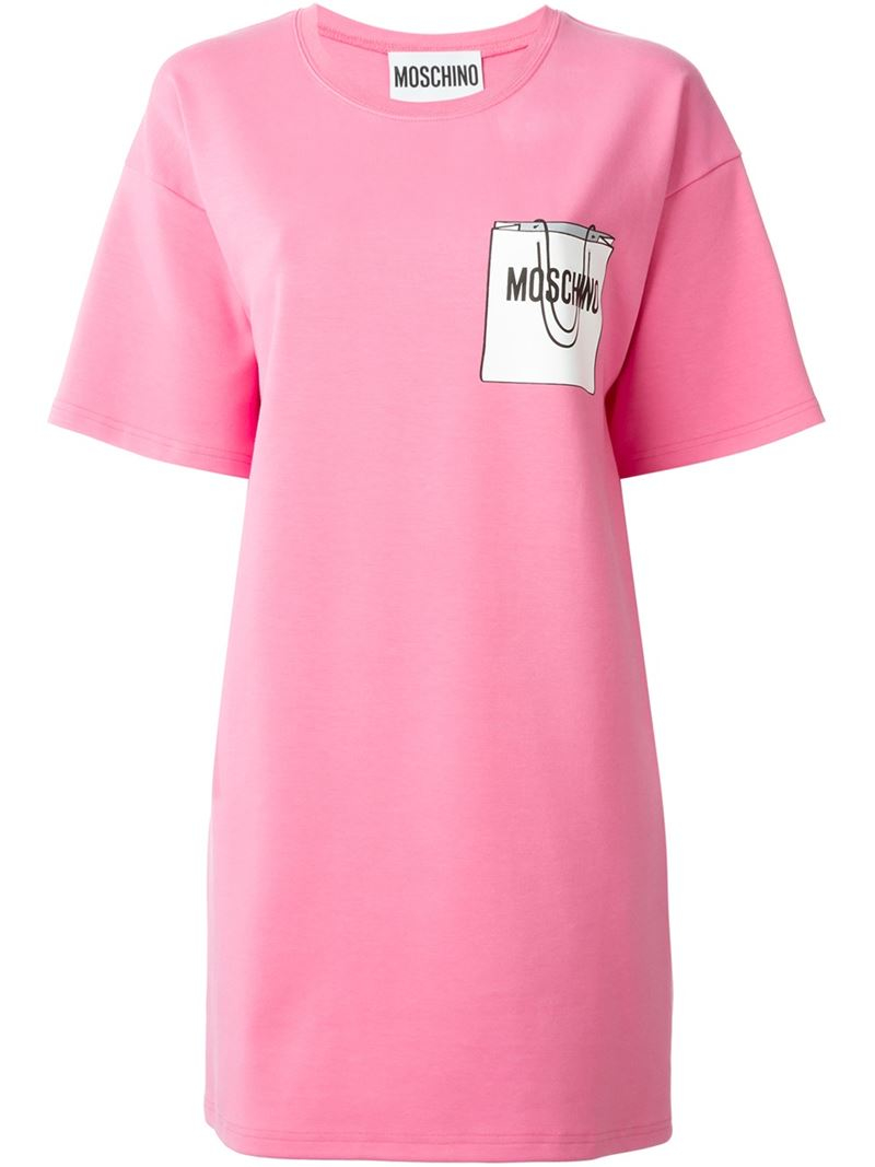 graphic print T-shirt dress - Pink & Purple Moschino Clearance Lowest Price Sale Outlet Store XgZF9