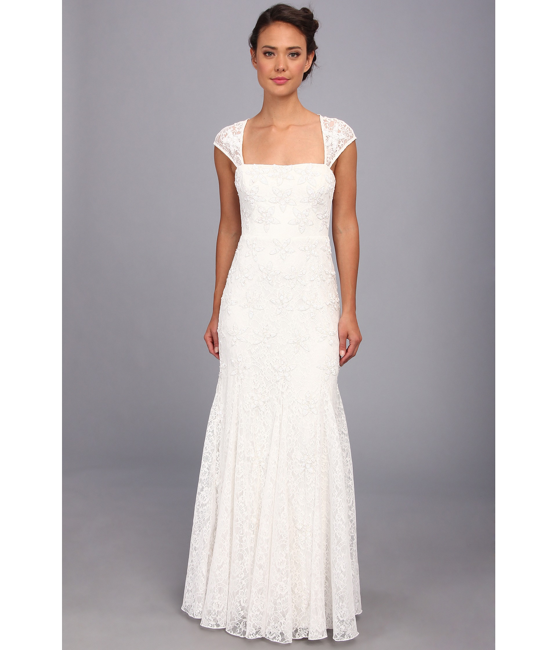 Lyst - Adrianna Papell Beaded Gown W Envelope Back in White