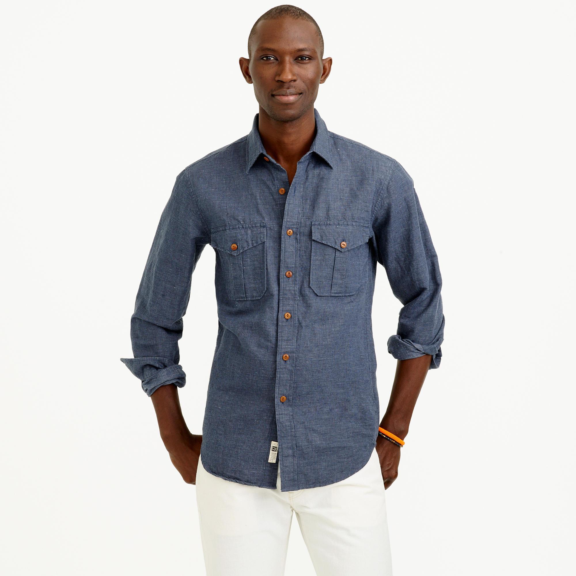 Irish linen cotton field shirt in microstripe in for Irish linen dress shirts