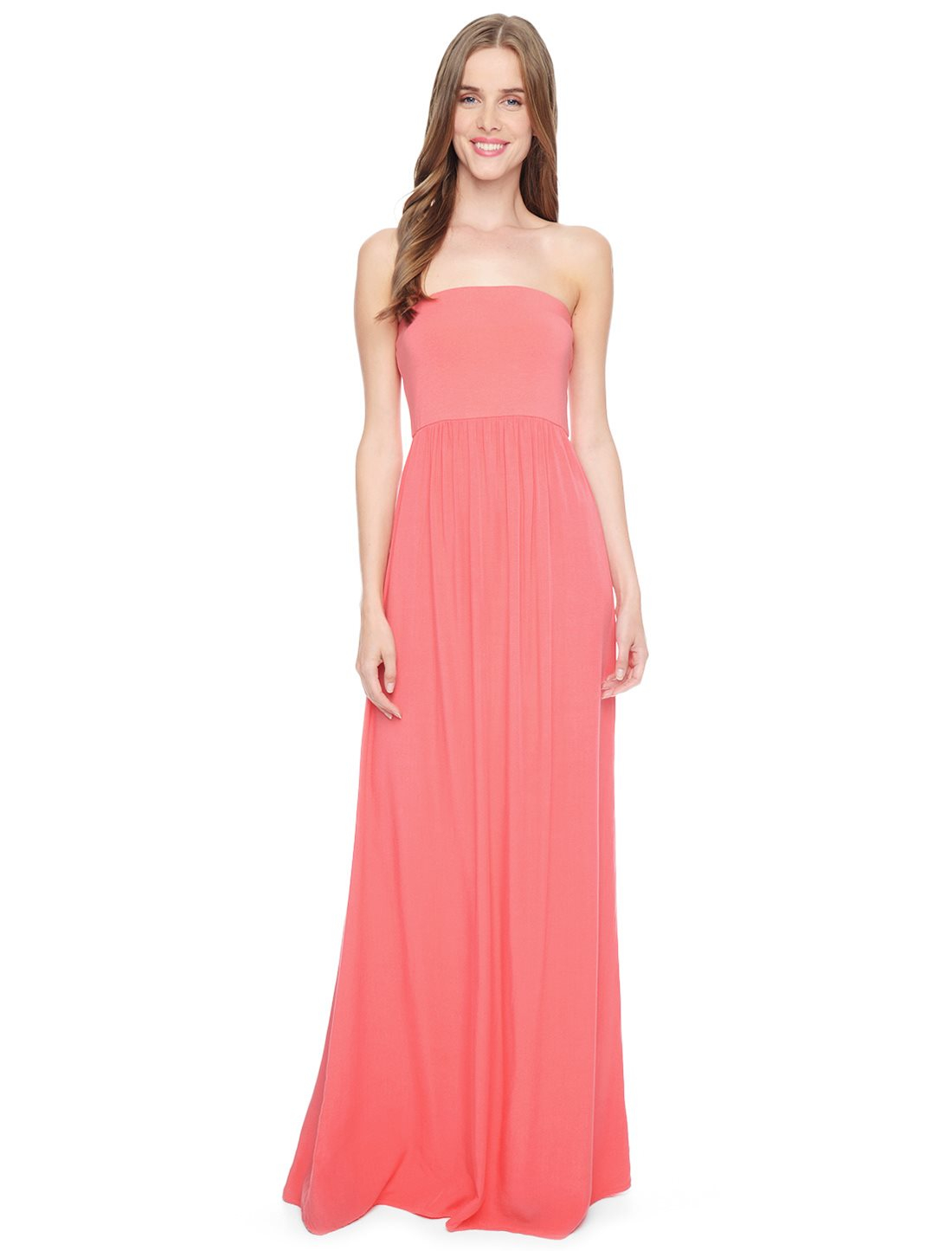 Splendid Strapless Maxi Dress in Pink (Coral Pink) | Lyst