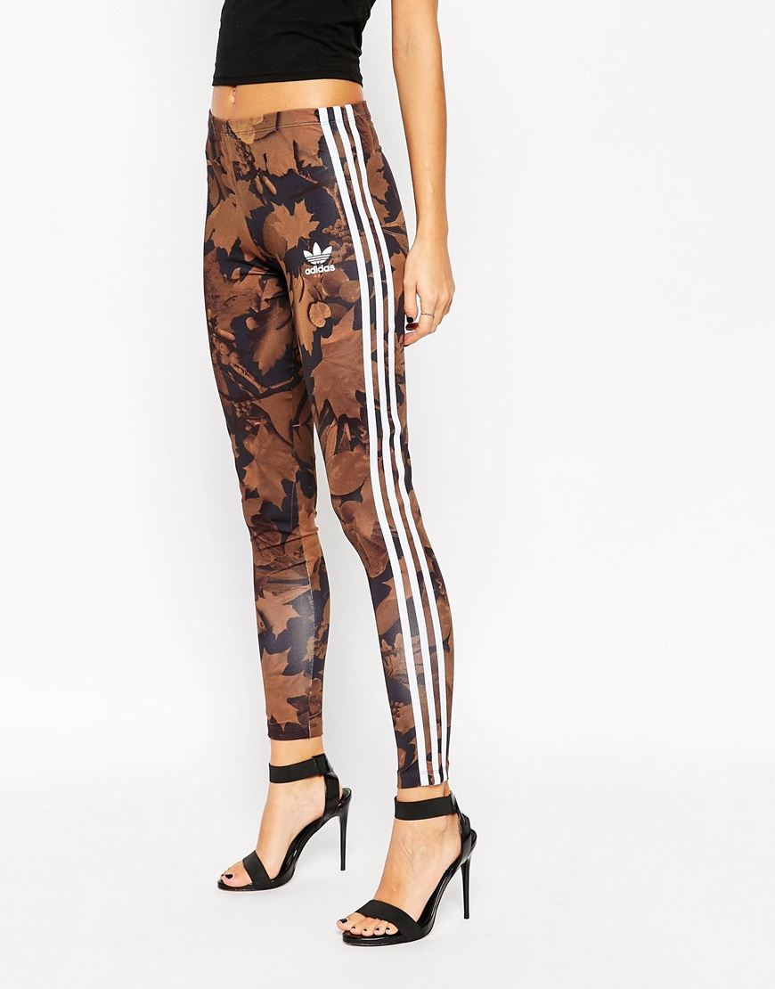 73e69f08cbaaf5 adidas Leggings In All Over Camo Leaf Print With 3 Stripes - Lyst