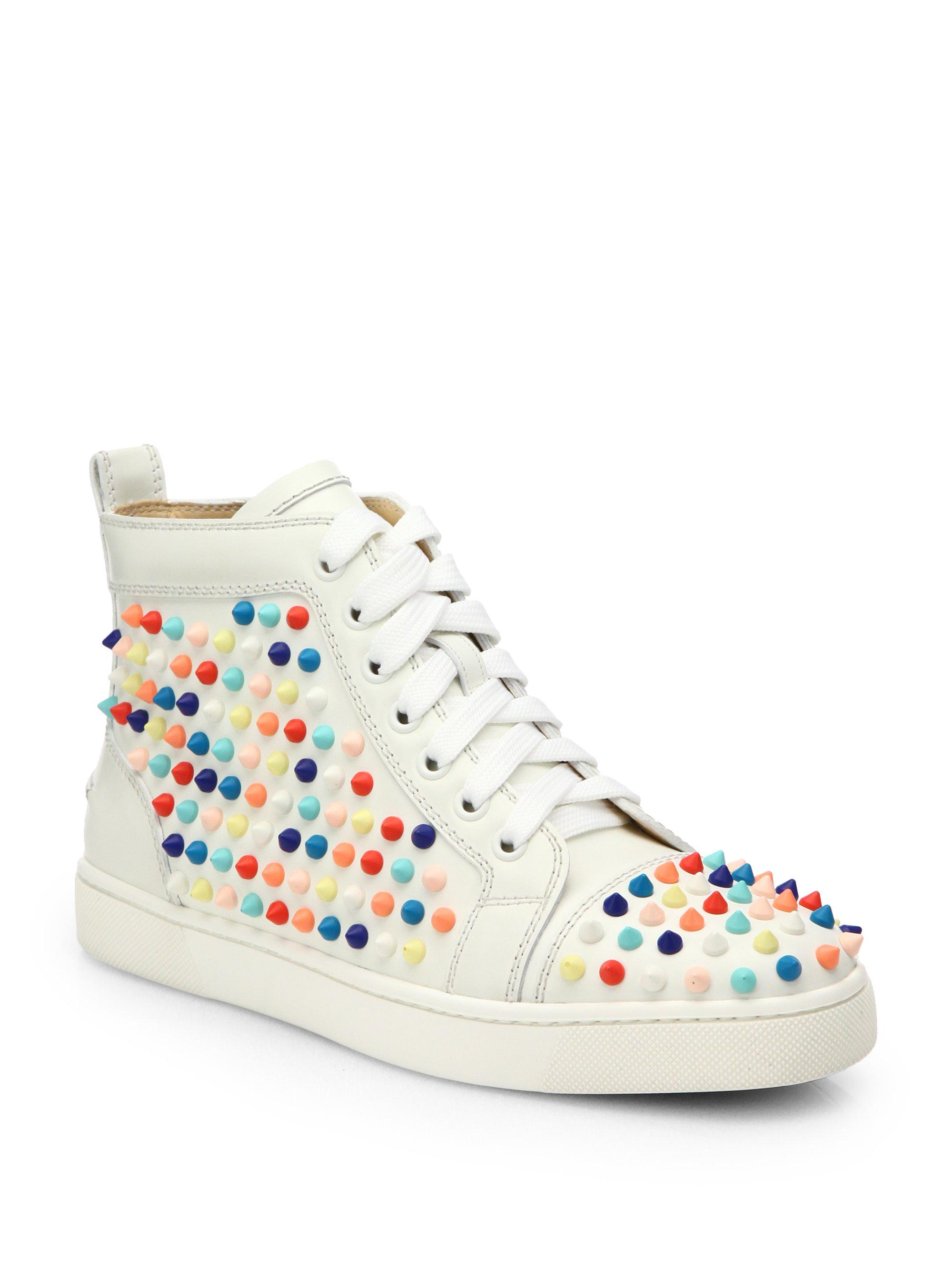 04eb46e442ea0 ... Lyst - Christian Louboutin Louis Woman Studded Leather Wedge Christian  Louboutin Sneakers Colorful ...