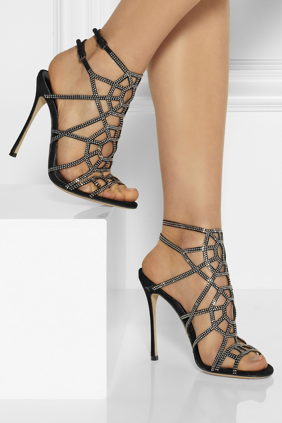 sergio rossi puzzle basic embellished suede sandals in black lyst. Black Bedroom Furniture Sets. Home Design Ideas
