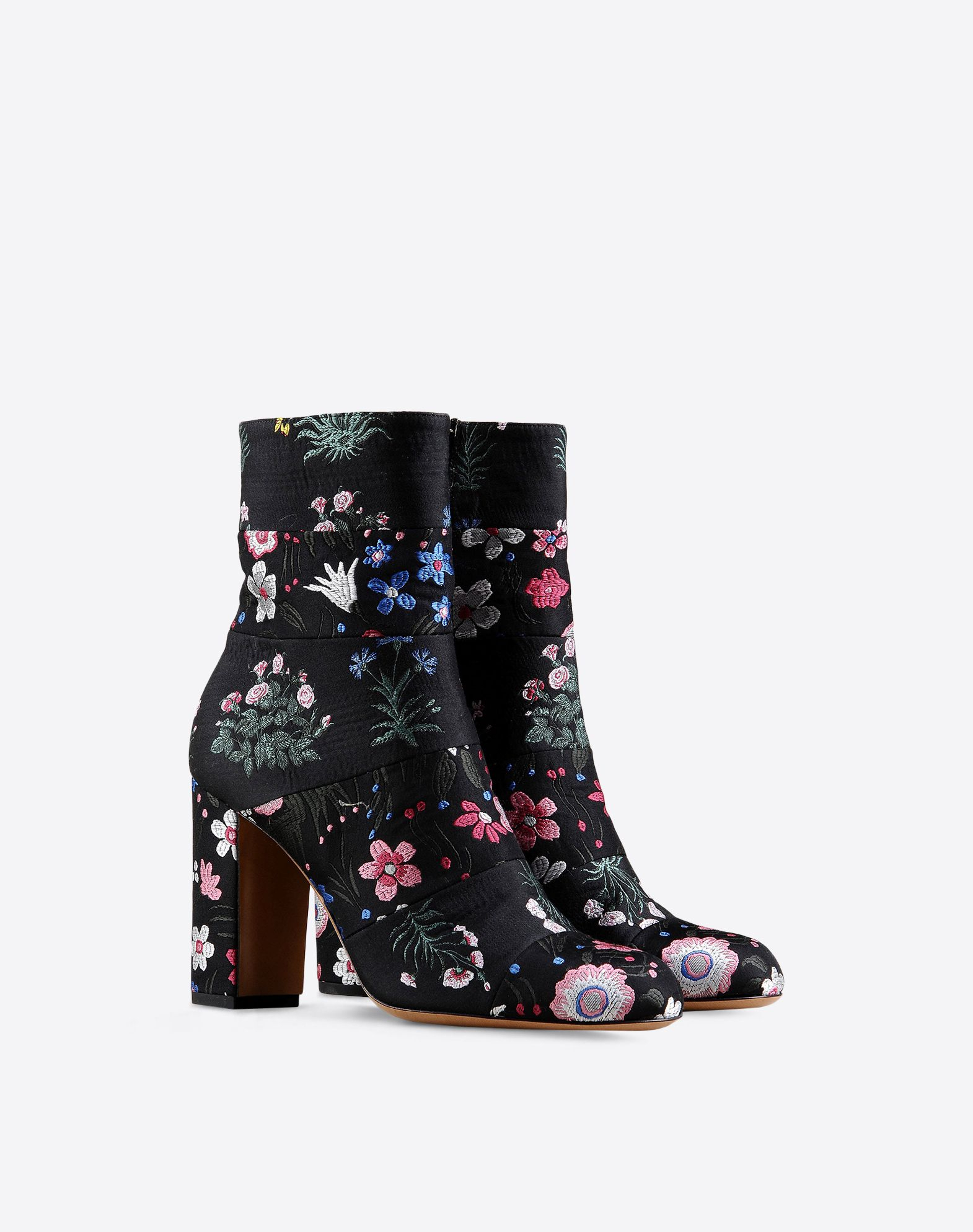 Valentino Embroidered Silk Ankle Boots In Floral Black