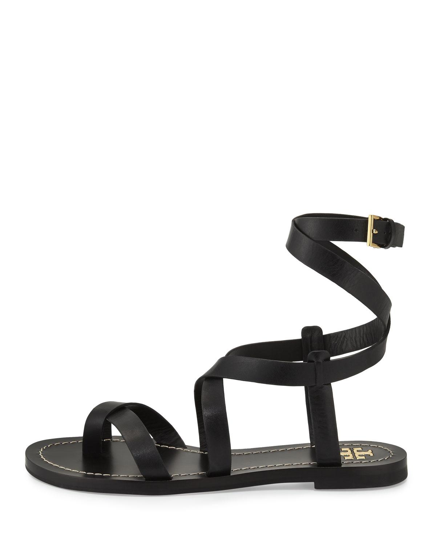 b0d699c240b0 Lyst - Tory Burch Patos Crisscross Leather Sandal in Black